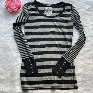 Poof excellence striped black grey shirt, large